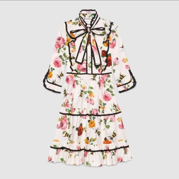 e4da76388 Skirts | Gucci Style Rose And Bee Ruffle Dress | Poshmark
